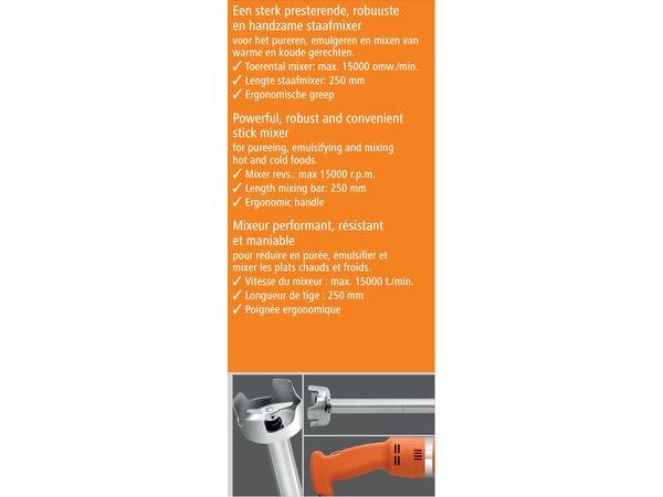 Bartscher Edelstahl-Stabmixer | Ergonomischer Griff | Stufenlos einstellbar | 15 000 RPM | 250W