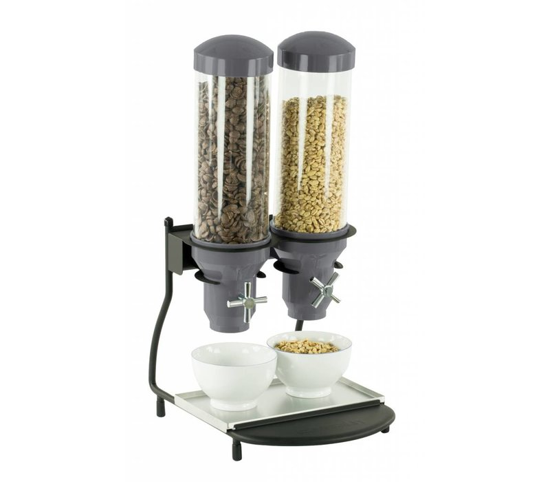 Casselin Cerealienspender Metall | 2 ABS Rohre x 3 Liter | 300x390x640 (H) mm