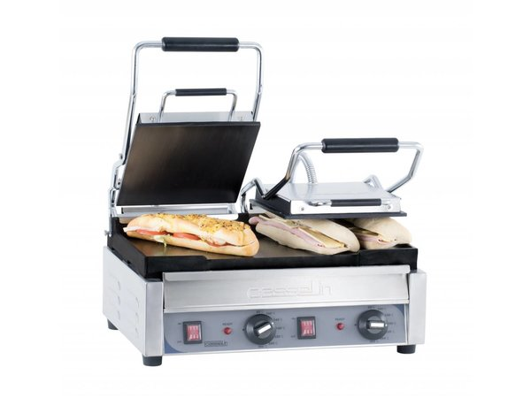 Casselin Double Panini Grill Premium   Smooth / smooth   SS   2,9kW   490x520x265 (h) mm