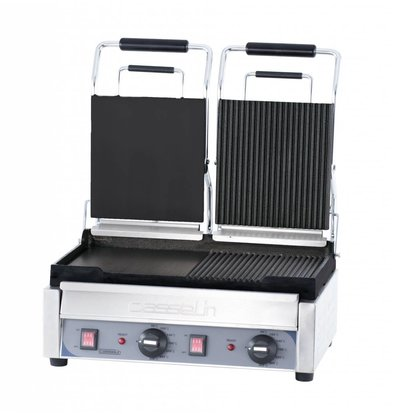 Casselin Double Panini Grill Premium | Smooth / Smooth and Grooved / Ribbed | SS | 2,9kW | 490x520x265 (h) mm
