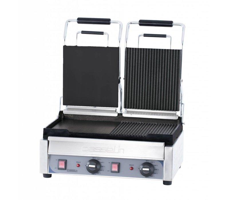 Casselin Doppel Panini Grill Premium | Glatt / glatt und gerillt / Rippen | SS | 2,9kW | 490x520x265 (H) mm