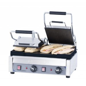 Casselin Double Panini Grill Premium | Ribbed / Smooth | SS | 2,9kW | 490x520x265 (h) mm