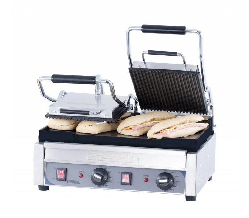 Casselin Double Panini Grill Premium   Ribbed / Smooth   SS   2,9kW   490x520x265 (h) mm