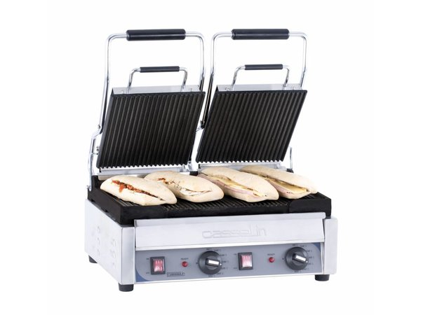 Casselin Double Panini Grill Premium | Ribbed / ribbed | SS | 2,9kW | 490x520x265 (h) mm