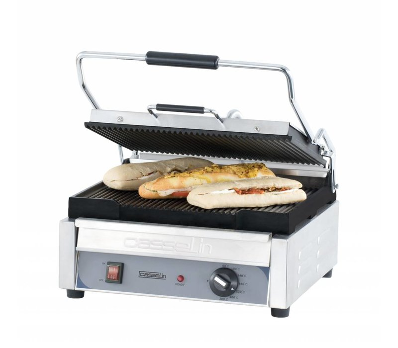 Casselin Panini Grill Premium GRAND | Ribbed / ribbed | SS | 2,4kW | 425x580x265 (h) mm