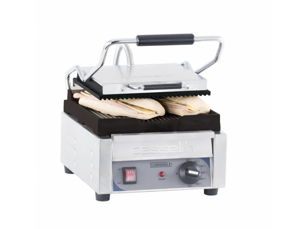 Casselin Panini Grill Premium SMALL | Ribbed / ribbed | 2kW | 300x490x265 (h) mm