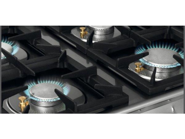 Bartscher Fornuis - Gas - 6-pits - Met open onderbouw - 120x70x(h)91cm
