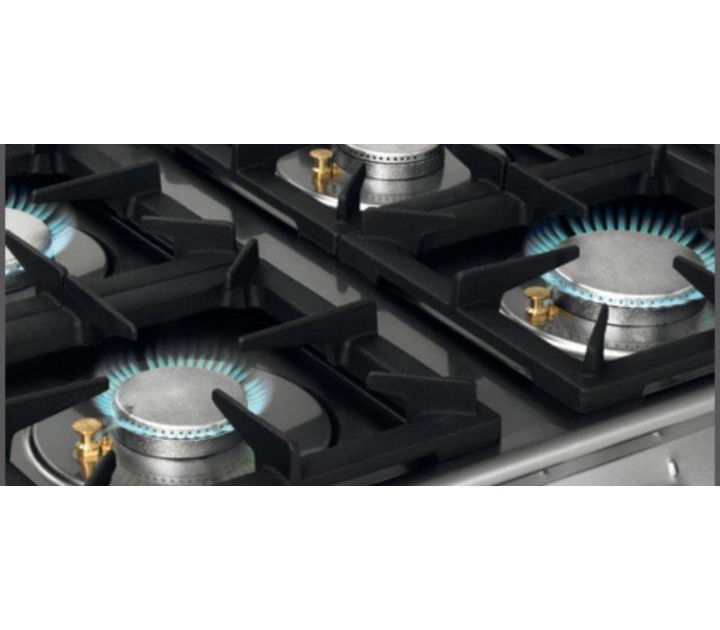 Bartscher Gasherd 6-Brenner + Elektrobackofen 2/1 GN - 400 V | 1200x700x (H) 910-955mm