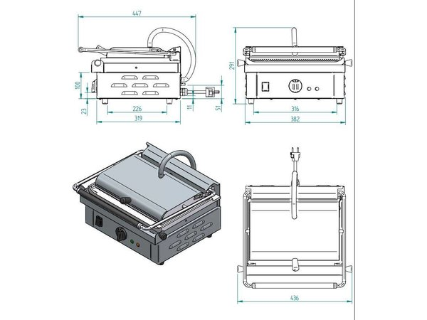 Diamond Contact Grill single | Ribbed / Smooth | 430x385x (H) 220mm | 3 Kw