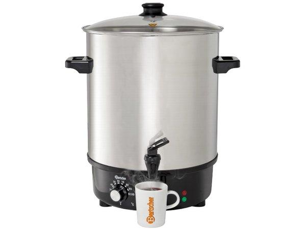 Bartscher XXL Glühwein Kessel aus Edelstahl | Glasdeckel | Hot Water Dispenser | Ø450mm | 30 Liter