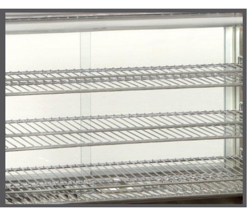 Bartscher Warming Vitrine RVS - 3 Roosters - 2 Schiebefenster - LED-Beleuchtung - 860x570x (h) 670mm