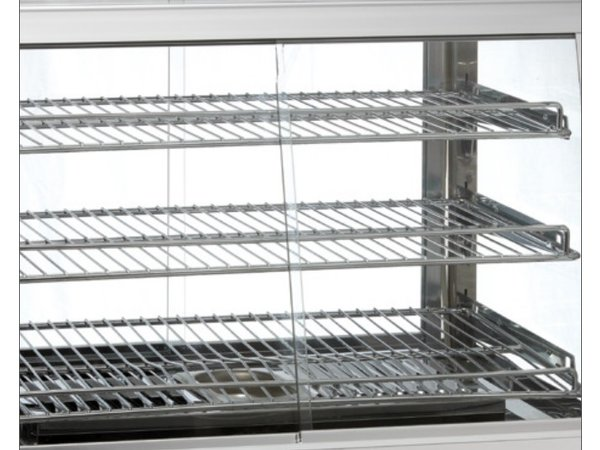 Bartscher Warming Vitrine RVS - 3 Roosters - beide Seiten 2 Schiebefenster - LED-Beleuchtung - 695x595x (h) 685mm