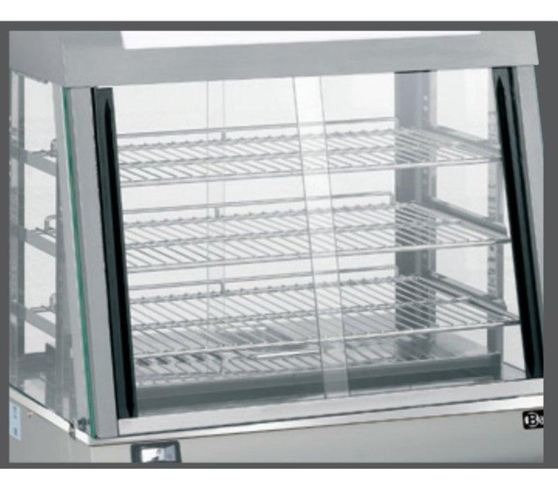 Bartscher Warming Showcase RVS - 3 Spielplan - vorne und hinten Schiebefenster - 110L - 660x437x (h) 655mm
