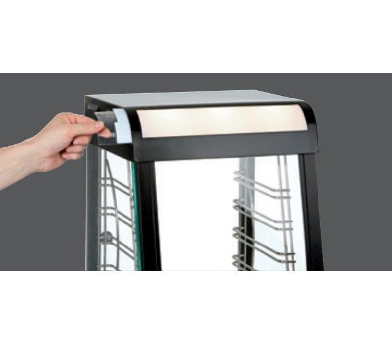 Bartscher Warming Schaukasten aus Edelstahl - zwei Hähne - 1 Schieben Square - LED-Beleuchtung - 380x465x (h) 658mm