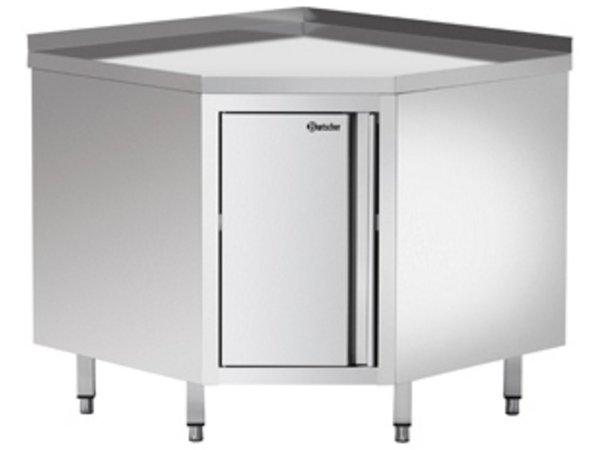 Bartscher Corner unit - with backsplash and intermediate shelf - B 900 x D 900 x H 850-900 mm