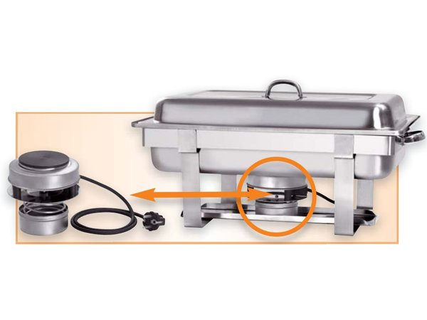 Bartscher Electric Chafing Dish | Chrome nickel steel | 1/1 GN | Incl. Heater | 610x350x (H) 320mm
