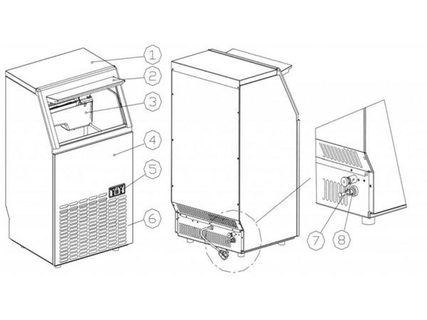 Hendi Eis-Maschine 35 kg / 24 h - 15kg Bunker - Luftgekühlt Einspritzung - quadratische Würfel