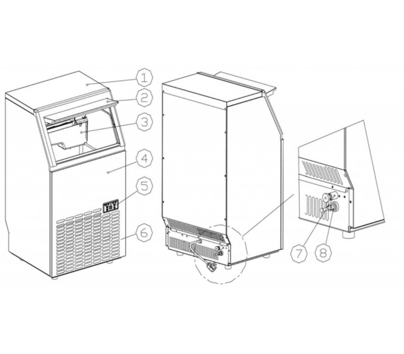 Hendi Ice machine 35 kg / 24 hr - 15kg bunker - Air cooled injection - Square Cubes