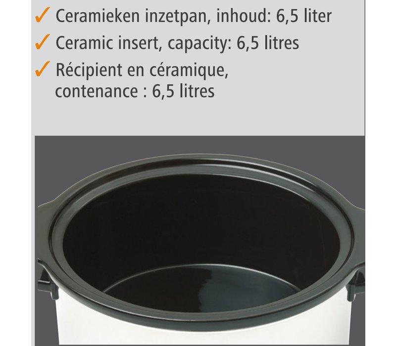 Bartscher Slow Cooker Oval + Locheinsatz aus Keramik - 6,5 Liter