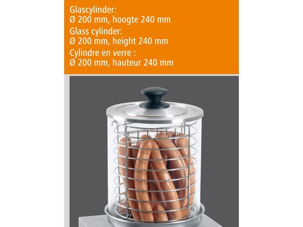 Bartscher Elektro Hot dog Herd - Edelstahl - Ø 200 mm - 280x280x (H) 355 mm