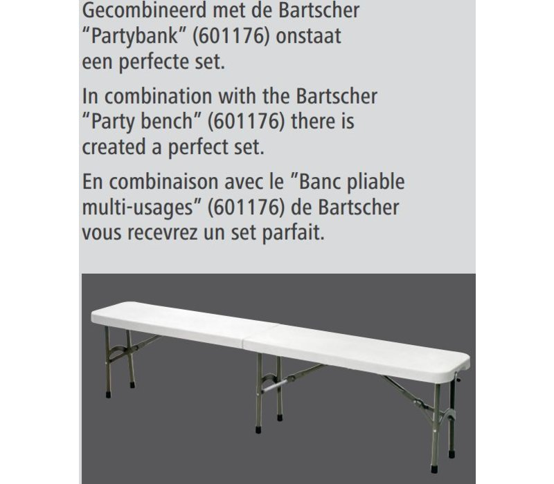 Bartscher Table Fully collapsible - Max 150 kg - 74 (h) x183 (b) cm - DELUXE!