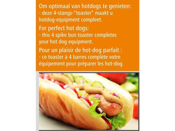 Bartscher Hotdog-Spiestoaster met 4 Toasttangen - 190 W - 240x280x(H)310mm
