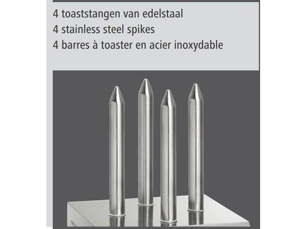 Bartscher Hotdog-Spies Toaster mit Toast 4 Zangen - 190 W - 240x280x (H) 310mm