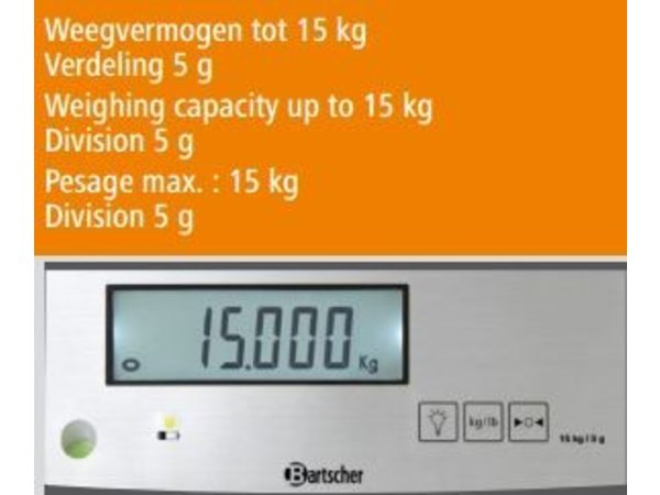 Bartscher Electronic Kitchen Scale - Max. 15 kg - playing from 5 g