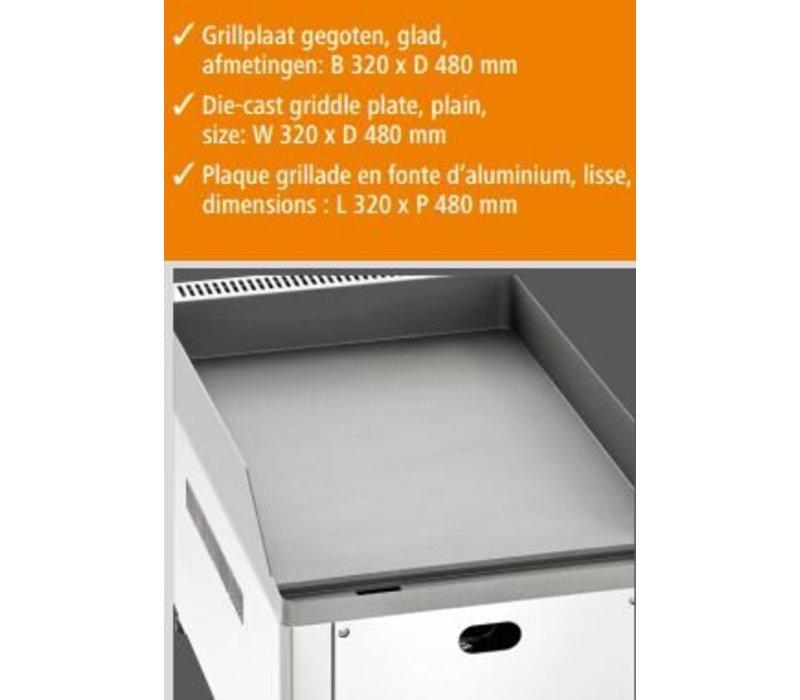Bartscher Gas Griddle - Gusseisen / glatt - 32,5x60x (H) 29.5 cm - 4 kW