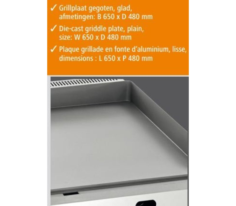 Bartscher Gas Griddle - Gusseisen / Smooth - 66x60x (H) 29.5 cm - 8 kW