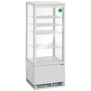 Bartscher Refrigerated display case - White - 98 liters - With lighting - 4 grates - DELUXE