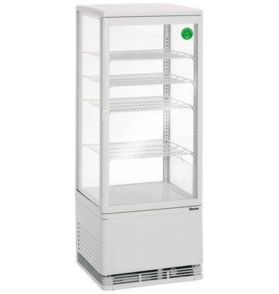 Bartscher Kühlvitrine - Weiß - 98 Liter - mit Beleuchtung - 4 Roste - DELUXE