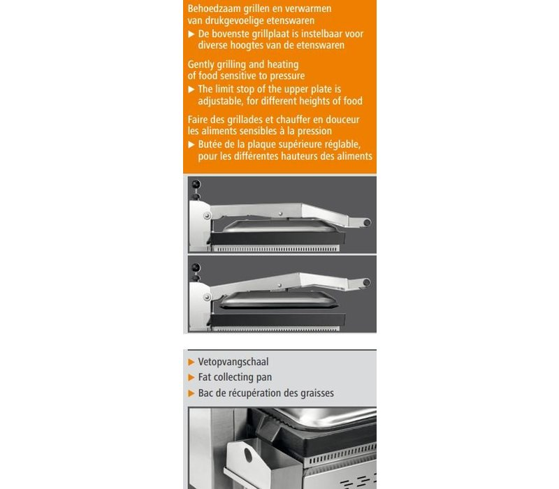 Bartscher Kontakt Grill VP3000 | Edelstahl | Einstellbarer Thermostat | 380x470x (H) 240 / 550mm