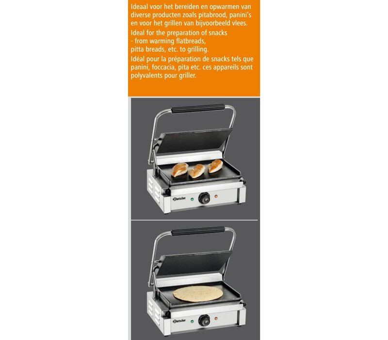 "Bartscher Contact-grill ""Panini"" - Glad/Glad - 41x37x(h)20 - 2200W"