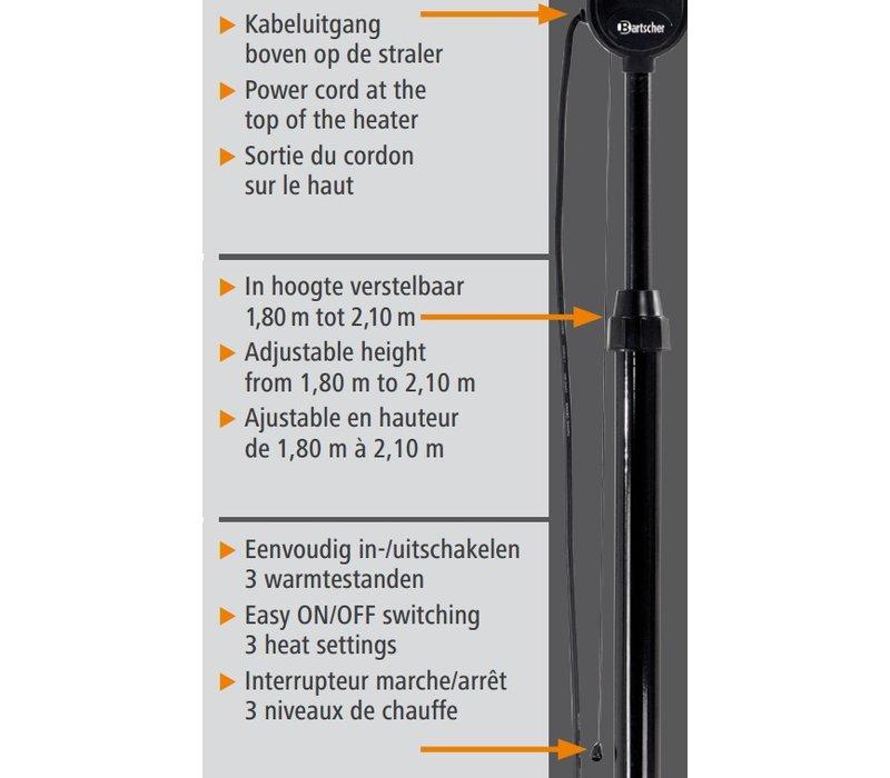 Bartscher Heizpilz | Heizpilz 1800W | 230 | Höhenverstellbare 1800 - 2100mm