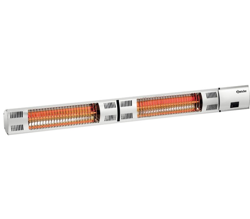 Bartscher Electr. Infrared Heater | Wall mounting | 2 heating pipes | Remote Control | 1050x200x (H) 100mm