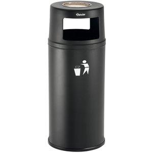 Bartscher Stand ashtray with waste bin | Removable screen / Inner bin | 52 Liter | Ø380x (H) 945mm