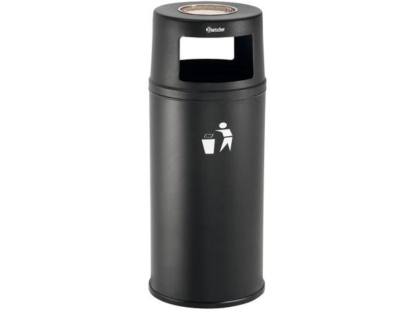Bartscher Ständer Aschenbecher mit Abfallbehälter | Abnehmbarer Blende / Inneneimer | 52 Liter | Ø380x (H) 945mm