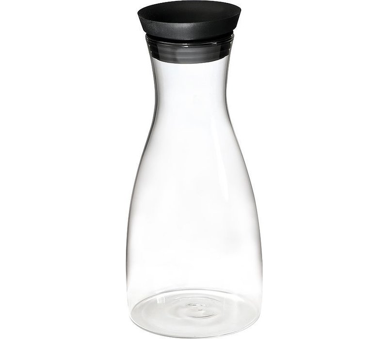 APS Glaskaraffe | 1 Liter | Edelstahl / Silikonkappe | Ø9,5x (H) 29cm