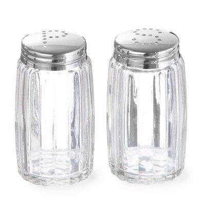 Hendi Pfeffer und Salzstreuer Glas | Mit Kappe aus Edelstahl
