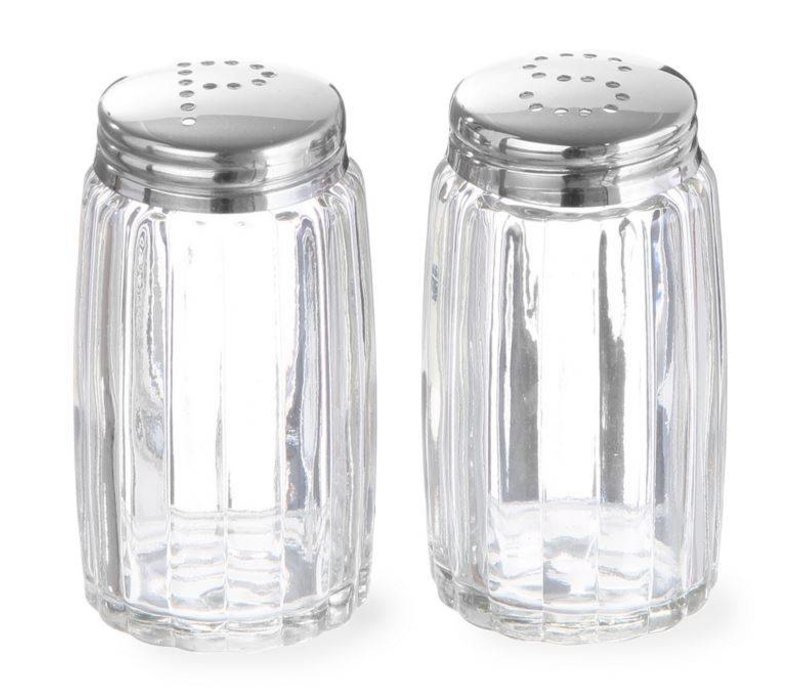 Hendi Pepper and Salt Spreaders Glass | With stainless steel cap