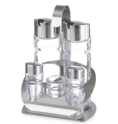 Hendi Menage 5 delig | Luxe | Olie, Azijn, Peper, Zout, tandenstokerhouder | 130x110x(H)185mm