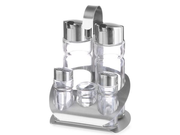 Hendi Menage 5 Stück | Luxus | Öl, Essig, Salz, Salz, Zahnstocher Inhaber | 130x110x (H) 185mm