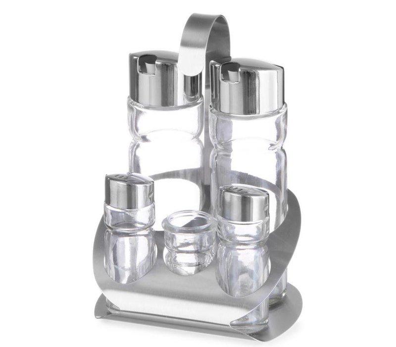 Hendi Menage 5 pcs | Luxury | Oil, Vinegar, Salt, Salt, Toothpick Holder | 130x110x (H) 185mm