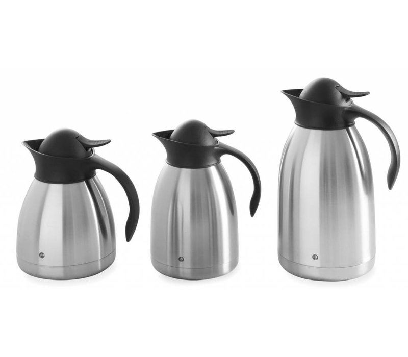 Hendi Double walled thermos - RVS - 1 Liter - Black Push