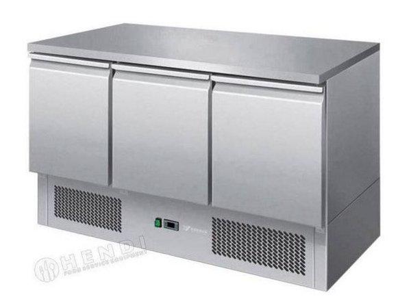 Hendi Saladette RVS - Machine Onder - 3 Deurs - 1365x700x(h)850 mm