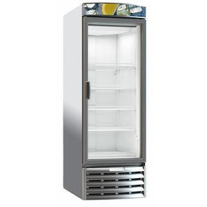 XXLselect Horeca Refrigerator Depth Cooling - Glass Door - 322 Liter - 59x69x (h) 181 cm