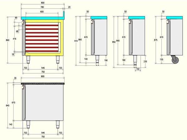 Diamond Kühle Workbench 80cm tief - 4 Türen - 2558x800x (H) 900 mm
