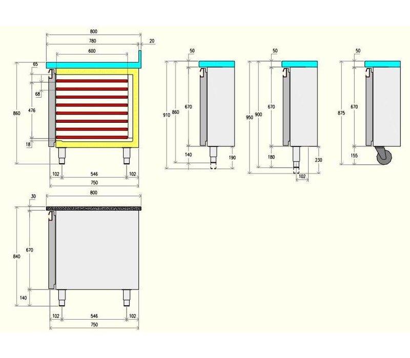 Diamond Koelwerkbank 80cm diep - 4 Deurs - 2558x800x(h)900mm
