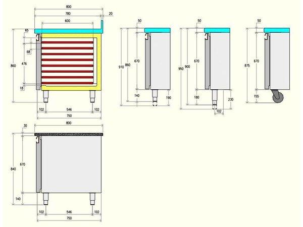 Diamond Kühle Workbench 80cm tief - 3 Doors - 2036x800x (H) 900 mm